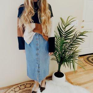 Vintage Denim Button Down High Rise Midi Skirt